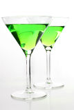 Green martini glasses Stock Images