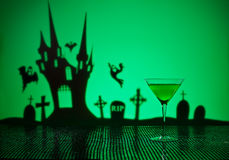 Green Martini in Halloween setting Royalty Free Stock Photography
