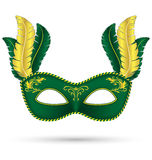 Green mask with feathers Royalty Free Stock Photography