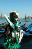Green mask at Venice carnival 2011 Stock Photos