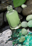 Green massage oil or wellness set Royalty Free Stock Photography
