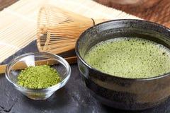 Green matcha powder and tea preparation Royalty Free Stock Photos