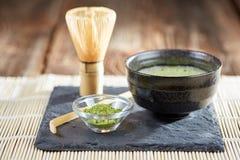 Green matcha powder and tea preparation Stock Image