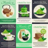 Green Matcha Tea Mini Banners Stock Photography