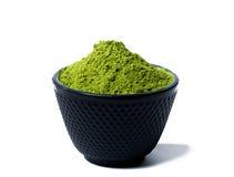 Green matcha tea powder Stock Image