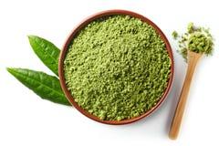 Green matcha tea powder Royalty Free Stock Photos