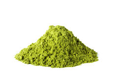 Green matcha tea powder. Heap of green matcha tea powder isolated on white background Royalty Free Stock Photography