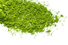 Green matcha tea powder. Isolated on white background Stock Images