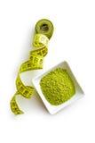Green matcha tea powder. Royalty Free Stock Photos