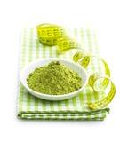 Green matcha tea powder. Royalty Free Stock Photography