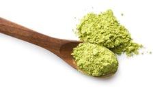 Green matcha tea powder. Royalty Free Stock Images