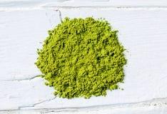 Green matcha tea powder Stock Images