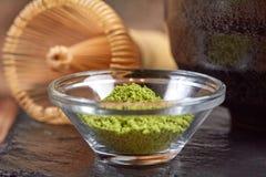 Green matcha tea on a wooden table Stock Photo