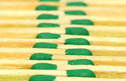 Green matches. In line. Studio picture Royalty Free Stock Images