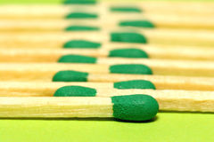 Green matches in line. Studio picture Royalty Free Stock Images
