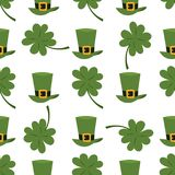 Green material leprechaun hat with brown leather band seamless pattern background gold shamrock and buckle vector Royalty Free Stock Images