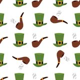 Green material leprechaun hat with brown leather band seamless pattern background gold shamrock and buckle vector Stock Image