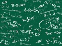 Green math school blackboard. Green random math school blackboard Stock Photos