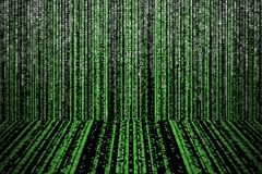 Green matrix abstract background with perspective and vignette royalty free illustration