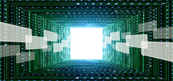 Green matrix tunnel with touch screen interface. And light at the end Royalty Free Stock Image