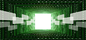 Green matrix tunnel with touch screen interface. And light at the end Royalty Free Stock Images