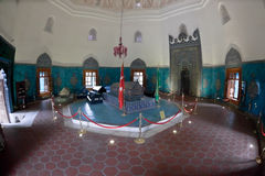 Green Mausoleum in Bursa. Interior of Green Mausoleum in Bursa with The sarcophagus of Sultan Mehmet I decorated with floral designs and calligraphic Stock Photography