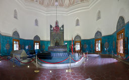 Green Mausoleum in Bursa. Interior of Green Mausoleum in Bursa with The sarcophagus of Sultan Mehmet I decorated with floral designs and calligraphic Royalty Free Stock Photos