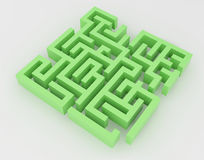Green maze, complex way to find exit. Royalty Free Stock Image