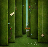 Green maze. Conceptual illustration of green maze and fantasy objects.  Computer graphics Royalty Free Stock Image