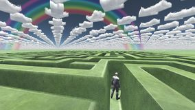 Green Maze. Figure inside of maze with arrow clouds above. Human elements were created with 3D software and are not from any actual human likenesses Royalty Free Stock Photos