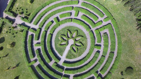 Green maze a garden, aerial view Stock Photos
