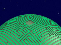 Green maze planet. Space scene with apparently intelligent planet wrapped with green maze. Rendered 3d design Royalty Free Stock Images