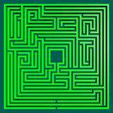 Green maze square. Square green maze viewed from above. Rendered 3d design Stock Photography