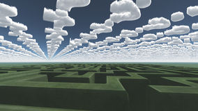 Green maze under question clouds Stock Images