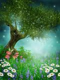 Green meadow with daisies vector illustration