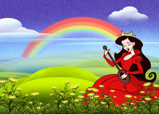 Green meadow. Digital illustration of green meadow and rainbow and beautiful singing princess in red Stock Photography