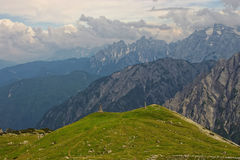 Green meadow in Dolomites, Italy Royalty Free Stock Image