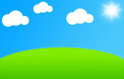 Green Meadow. Illustration of a Green Field with White Clouds and Shining Sun Royalty Free Stock Photo