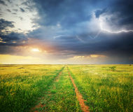 Green meadow. And lightning. Composition of nature Stock Photos