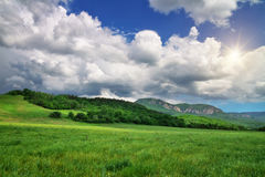 Green meadow in mountain. Royalty Free Stock Images