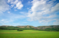 Green meadow in mountain and blue cloudy sky. Royalty Free Stock Image