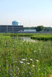Green meadow and office buildings. Green summer meadow and pond, with commercial office buildings, a highway, and a water tower in the background.  White heron Stock Photo