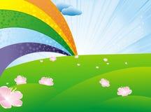Green meadow and rainbow Stock Photo