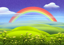 Green meadow with rainbow. Digital illustration of green meadow and a rainbow Royalty Free Stock Images
