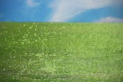 Green meadow with  scratched layer Stock Photography