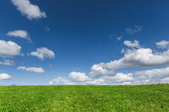 Green meadow and sky with clouds Stock Photography