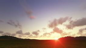 Green meadow with sunset timelapse clouds stock footage
