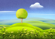 Green meadow with tree Royalty Free Stock Photography