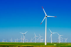 Green meadow with wind turbines Stock Photo