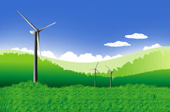 Green meadow. With Wind turbines generating electricity., Global warming concept Stock Photo